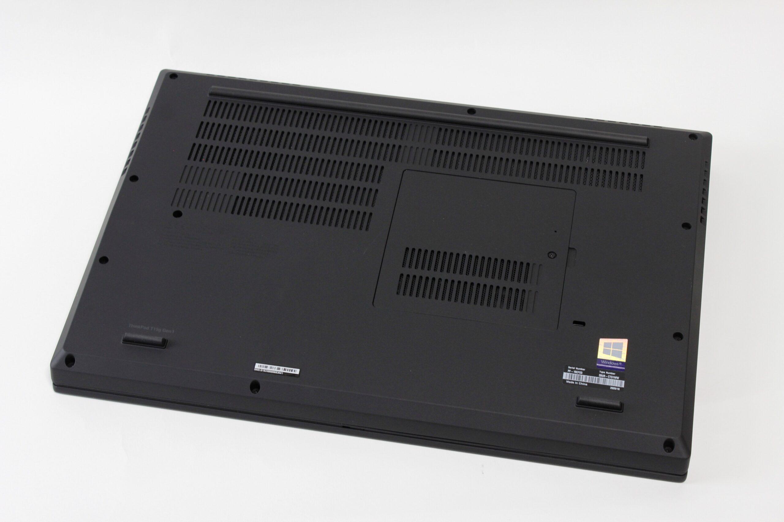 Lenovo ThinkPad T15gの底面の画像